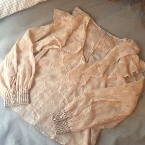 Pink seethrough frilly blouse